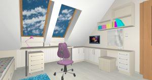RD Velká Dobrá Slunečni - 3D návrh 2NP Pokoj 2