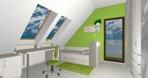RD Velká Dobrá Slunečni - 3D návrh 2NP Pokoj 1