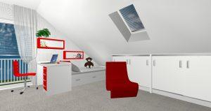 RD Buštěhrad Topolová - 3D návrh 2NP Pokoj 1