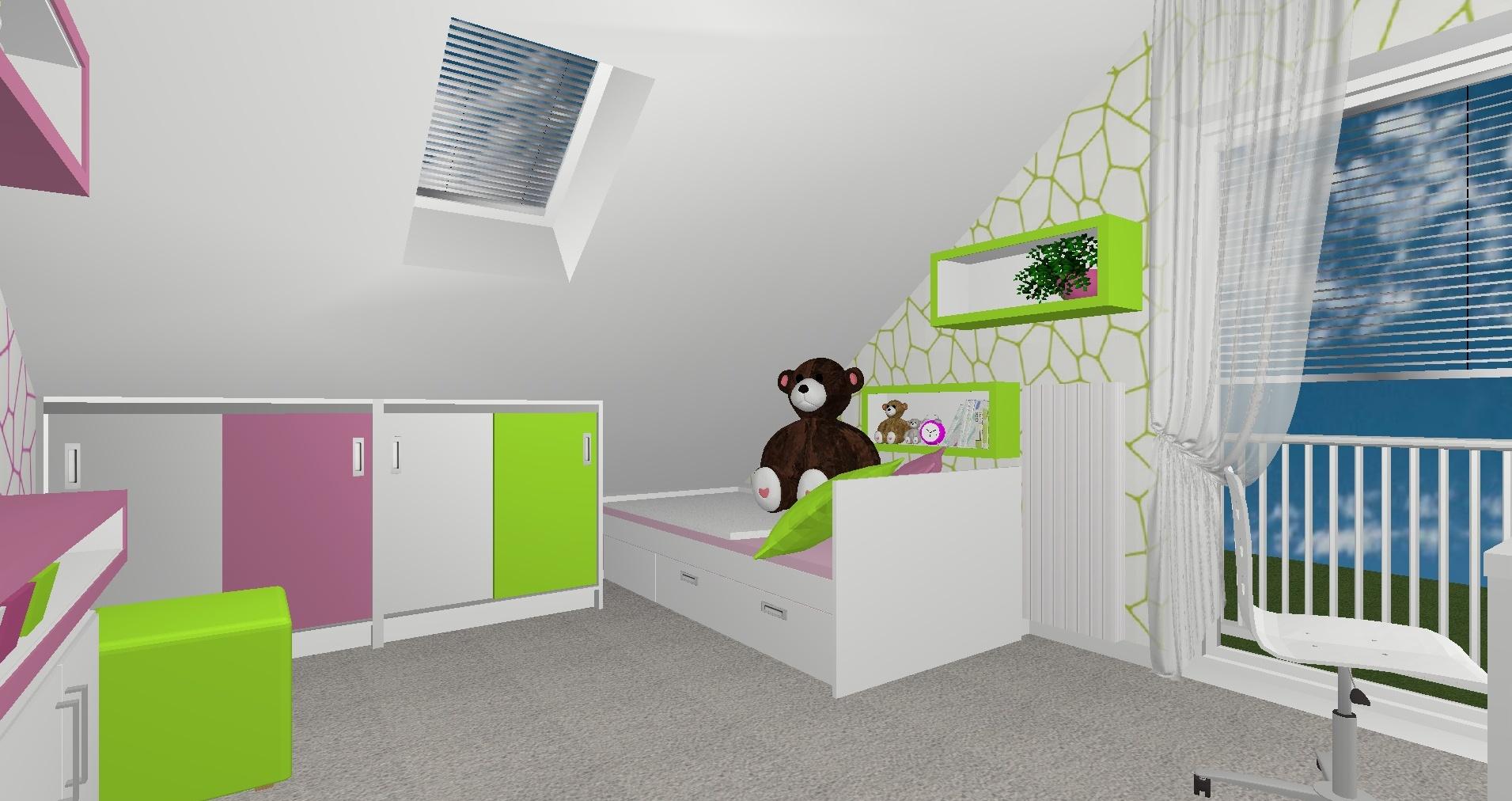 RD Buštěhrad Topolová - 3D návrh 2NP Pokoj 2
